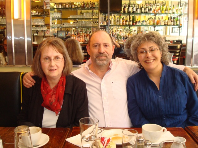 Janet Hutchings, Steve Steinbock, and Linda Landrigan during Edgar week. (Photo courtesy of R.T. and Kiti Lawton.)