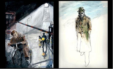 Early illustrations for The Spy Who Came in from the Cold, circa '67-'68