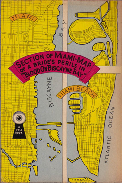 "A Dell ""Map Back"" from the forties, here showing the geography of Biscayne Bay, sandwiched between Miami and Miami Beach."
