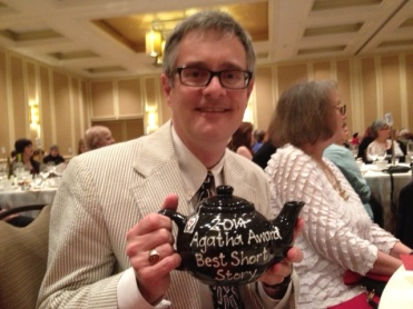 Art Taylor with his Agatha Award