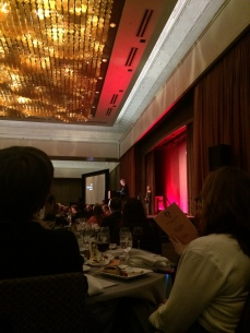 View from the Dell table of Stephen King presenting the Ellery Queen Award to Charles Ardai