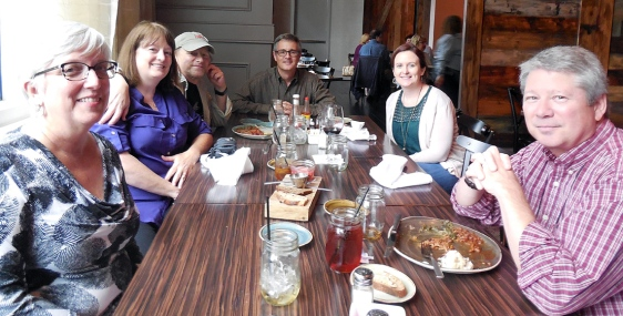 The EQMM nominees lunch. Pictured from L to R: Elaine Helms, Amy Marks, Paul Marks, Art Taylor, Tara Laskowski, and Rick Helms.