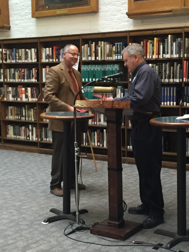 Dell Magazines' Peter Kanter presents Lou Manfredo with EQMM Readers Award certificate
